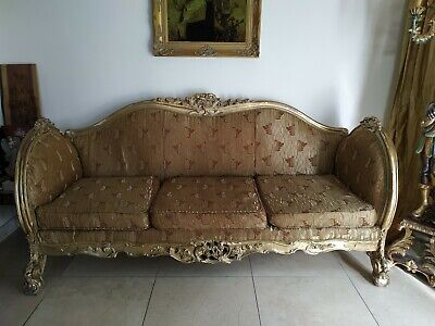 ANTIQUE FRENCH LOUIS XV STYLE GILT SOFA COUCH , ORNATE CARVED,3 Seete