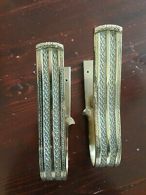A Pair of Large Antique Brass Curtain Hold Back