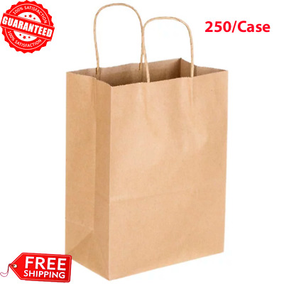 "250-Pack Natural Kraft Paper Shopping Grocery Bag with Handle, 8""x4 1/2""x10 5/8"""
