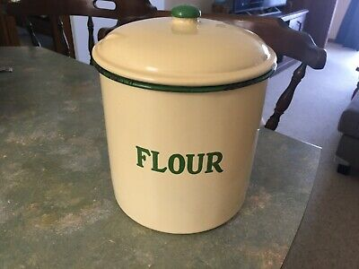 Vintage Green And Cream Flour Canister.