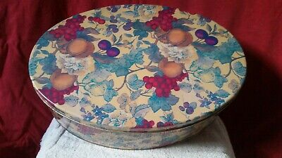 Biscuit or Chocolate Tin Oval shape with floral decoration CT08