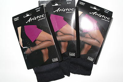 *3 Pairs* ARISTOC patterned OPAQUE TIGHTS   MEDIUM Black With Lycra    SCHOOL