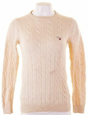 GANT Womens Crew Neck Jumper Sweater Size 10 Small Off White Wool  GP10