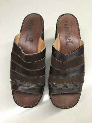 70s Vintage Wedge Shoes 'Made by Meller', Leather Upper, 6-61/2