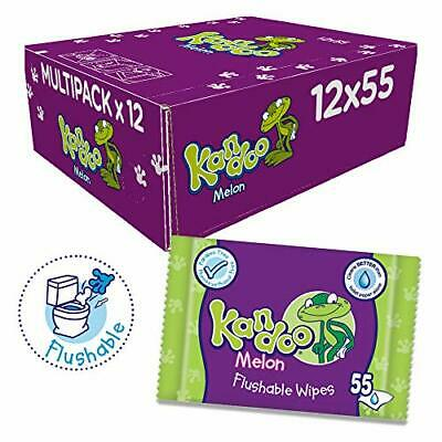 Kandoo Melon Flushable Toilet Wipes - Pack of 12, Total 660 wipes