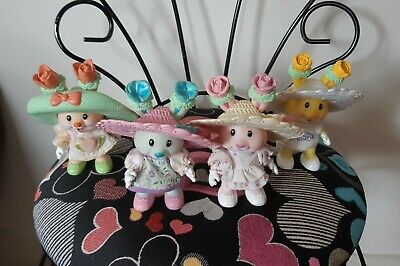 Lot of Vintage Tea Bunnies Figures Tea Cup Ballet Tea Party Dolls SO CUTE