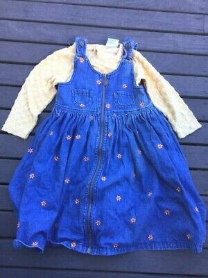 Vintage Pumpkin Patch Denim Dress with flowers (3) Yellow long sleeve top (2)