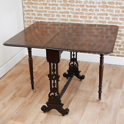 Original Antique Victorian Solid Mahogany Drop Leaf Sutherland Dining Tea Table