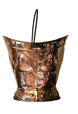 Antique Art Nouveau Arts Crafts Copper Coal Helmet Scuttle Bucket Circa 1880