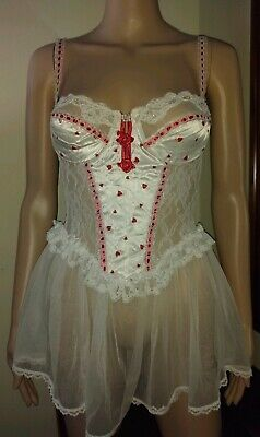 Vintage Fredrick's Of Hollywood Chemise Medium Valentine's Day hearts pearls