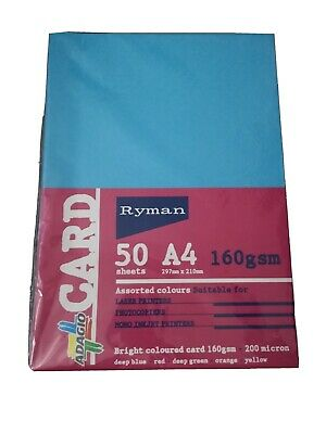 50 Sheets Of Bright Assorted Colour A4 Card 160gsm