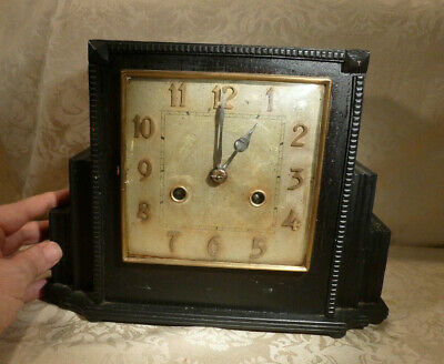 Art Deco Angular Ebonised Wood Pendulum Mantle Clock German DRGM Spares/Repairs