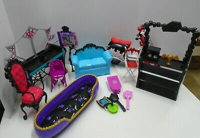 Monster High Dolls Accessories Furniture Scooter Bed Couch Picture Shelves Lot