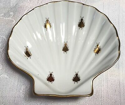 Beautiful Antique Limoges Porcelain Hand Painted Bowl White With Honey Bees