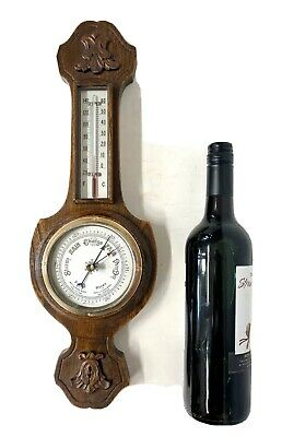 "MINIATURE Antique Carved Oak Aneroid Banjo Barometer & Thermometer : 18 "" HIGH"