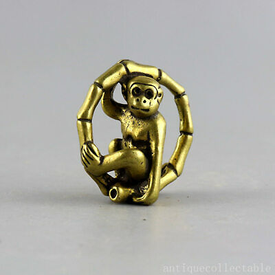 Collectable China Antique Bronze Hand-Carved Lovely Monkey Delicate Vivid Statue