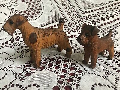 Vintage Wood Wooden Dog Figurine Miniature Hand Carved Folk Art Terrier Pair (2)