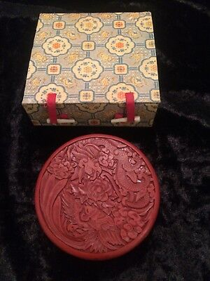 Gorgeous Vintage 1950s Chinese Trinket Box Red