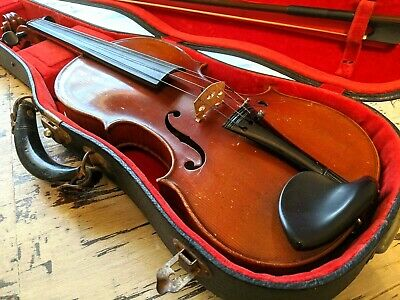 German Violin Vintage One Piece Flame Maple Back No Cracks Or Repairs Case & Bow