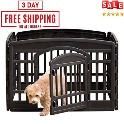 """Large Indoor Outdoor Dog Pet Playpen Exercise Pen Play Yard Cage 24"""" for Dog"""