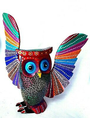 OWL Alebrije Large Hand Crafted Wood Carving Oaxacan Folk Art Oaxaca Mexico