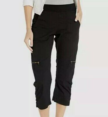 NWT XCVI Women's Wearables Nadia Crop Regular Fit Stretch Pants Black Size M