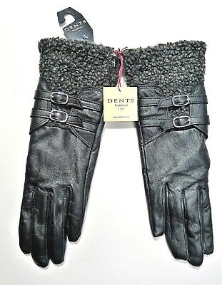 NWT DENTS Ladies Women's Black Leather Gloves