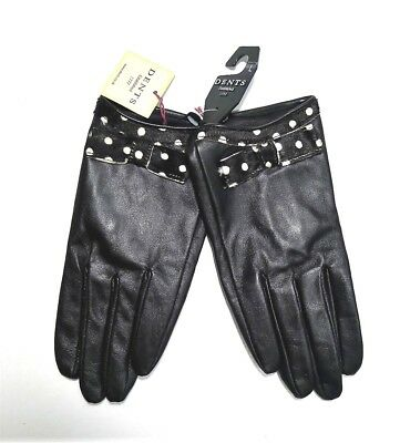 NWT DENTS Ladies Women's Black Leather Gloves w Bow