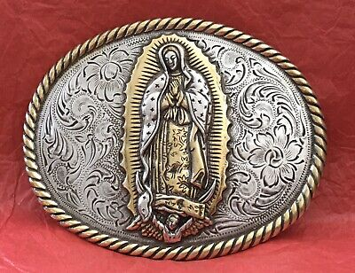 Vintage Huge & Heavy Our Lady Of Guadalupe The Virgin Mary Christian Belt Buckle