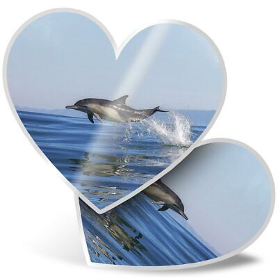 2 x Heart Stickers 7.5 cm Swimming Dolphins Ocean Sea Creature  #8434