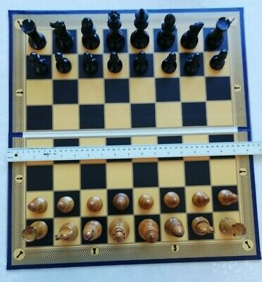 "Superb Large BLUE Printed Folding Chess Board Antique design with 2"" squares"