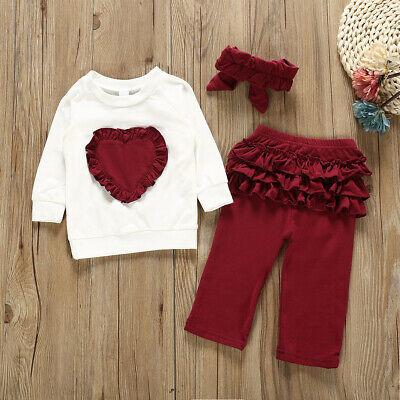 Toddler Baby Girls Outfits T-shirt Tops Pants Leggings Kids Clothes 3PCS Sets