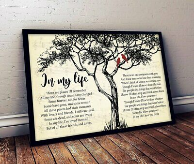 THE BEATLES IN MY LIFE SONG LYRICS POSTER LANDSCAPE -Print Poster Wall Art Decor