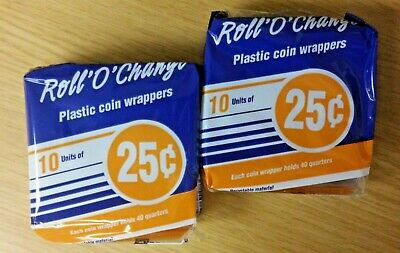 Blueline® Roll'O'Change® Plastic Coin Wrappers 25¢ QUARTERS (20 Pack) New