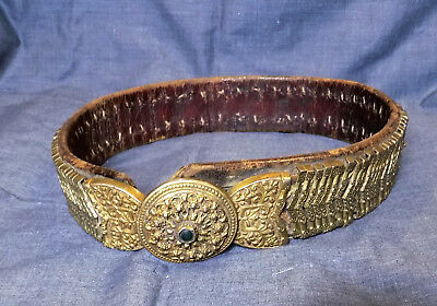 Antique Folk Balkan Macedonian Hand Wrought Silver Buckle Leather Belt-Radovish