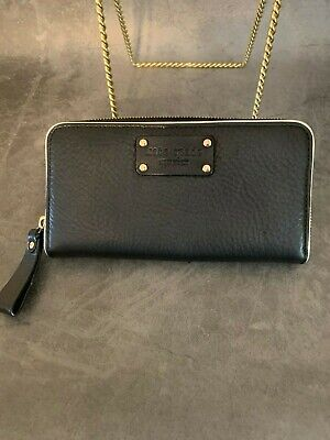 Kate Spade Black Pebbled Leather  Neda Zip Around Wallet Clutch