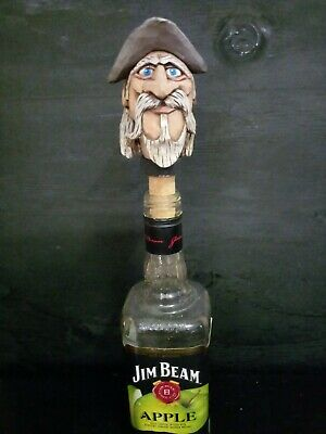 HAND CARVED WOOD Bottle stopper-- Don Quixote