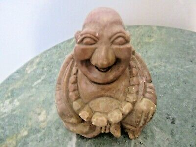 "HAPPY LAUGHING BUDDHA NATURAL STONE HAND CARVED GREAT CONDITION 2 1/2"" x 2 1/2"""