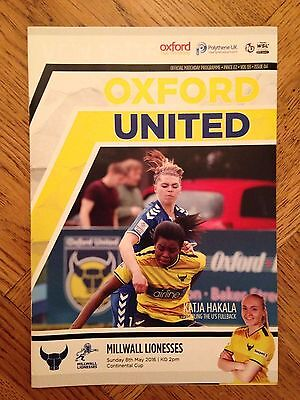 Oxford United Women v Millwall Lionesses - Continental cup Programme - 08/5/16