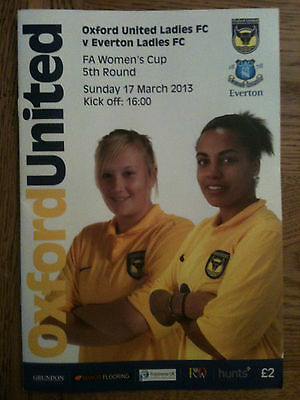 Football Programme: Oxford United Ladies v Everton Ladies FA Cup 5th Round 2013