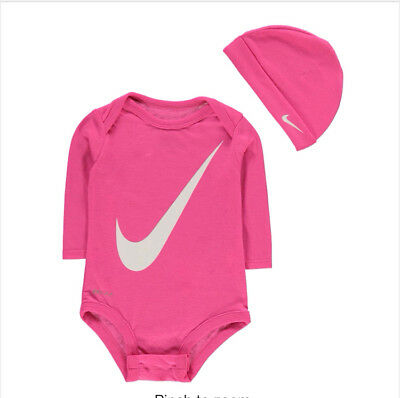 Nike Baby Long Sleeve Girls Bodysuit Top & Hat 0-3 Months  New