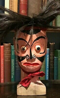 19th CENTURY ANTIQUE ASIAN JAPANESE HAND-CARVED WOOD PUPPET HEAD w/ REAL HAIR