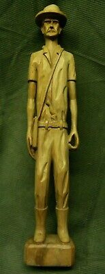 Vintage / Antique Signed Hand Carved Wooden Man With Knife Folk Art