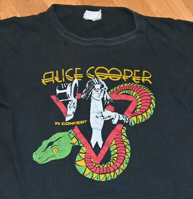 1970's ALICE COOPER vtg rock concert 1975 Tour tee t-shirt (L) Rare Glam Metal