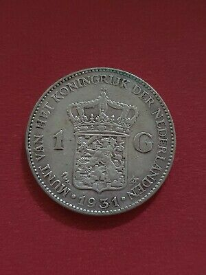 1931 Netherlands Holland 1 Gulden Silver Coin
