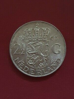 1963 Netherlands Holland 2 1/2 Gulden Silver Coin