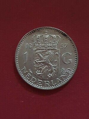 1957 Netherlands Holland 1 Gulden Silver Coin