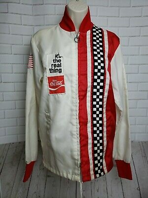 Vintage 1970's The Great Lakes COCA~COLA Racing Jacket White Wind Breaker
