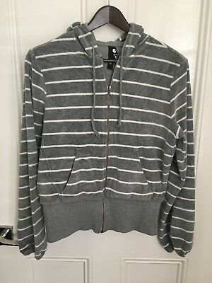 Velour Grey and White Hoodie Size 10