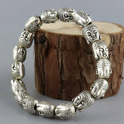 Collect Old Tibet Silver Hand Carve Double Buddha Head Moral Bring Luck Bracelet
